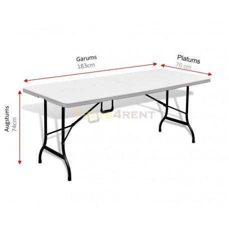 Saliekams plastmasas galds baltā krāsā