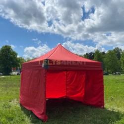 Telts 3x3m Sarkana ar sienām
