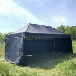 Telts 6x3m melna ar sienām