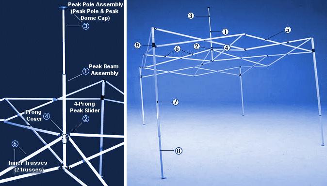telts diagramma EZ Up detaļām